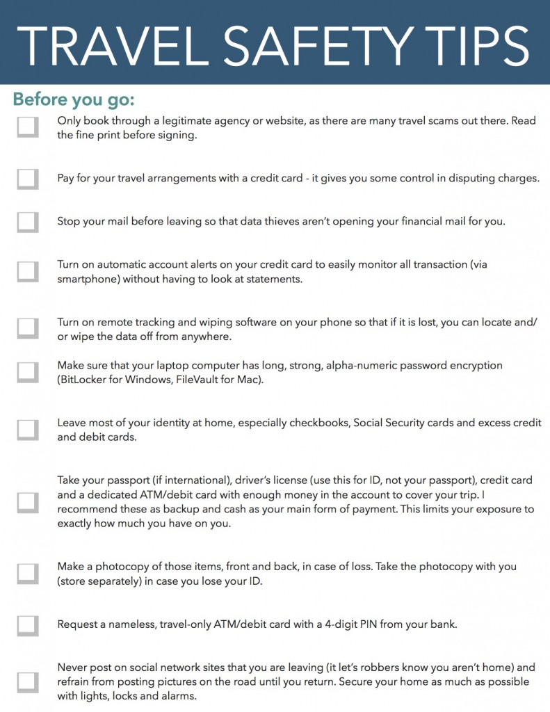 Travel Safety Tips Checklist